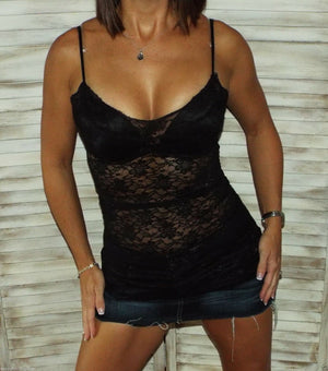 Very Sexy Low Cut Cleavage Sheer Lace Long Layering Tunic Tank Cami Top Black M