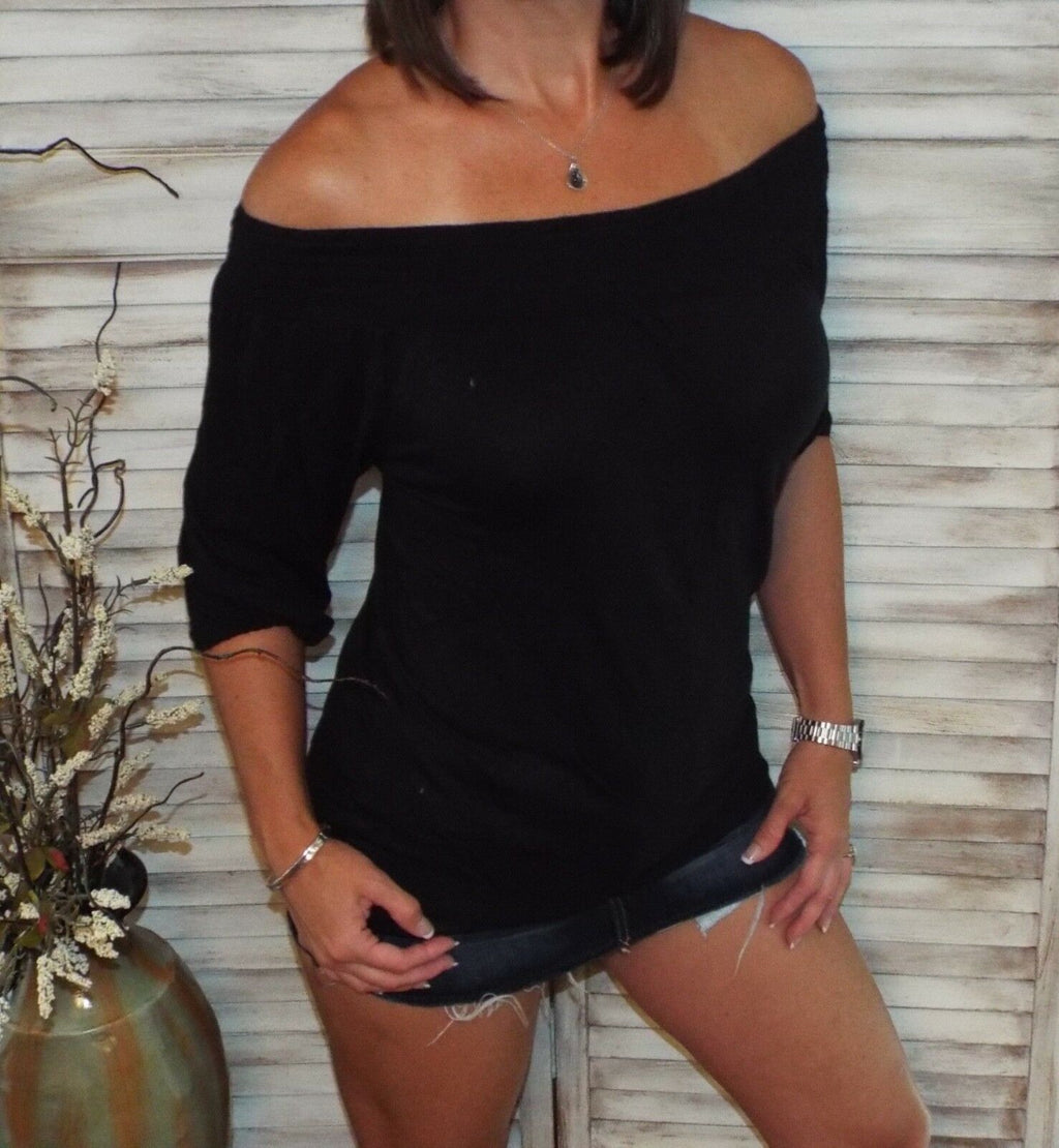 Very Sexy Smocked Off Shoulder Floaty 3/4 Sleeve Blouse Shirt Top Black S/M/L