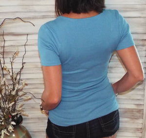 Very Sexy Deep V Neck Plunge Cleavage Slim Ribbed Stretch Henley Top Blue S/M/L