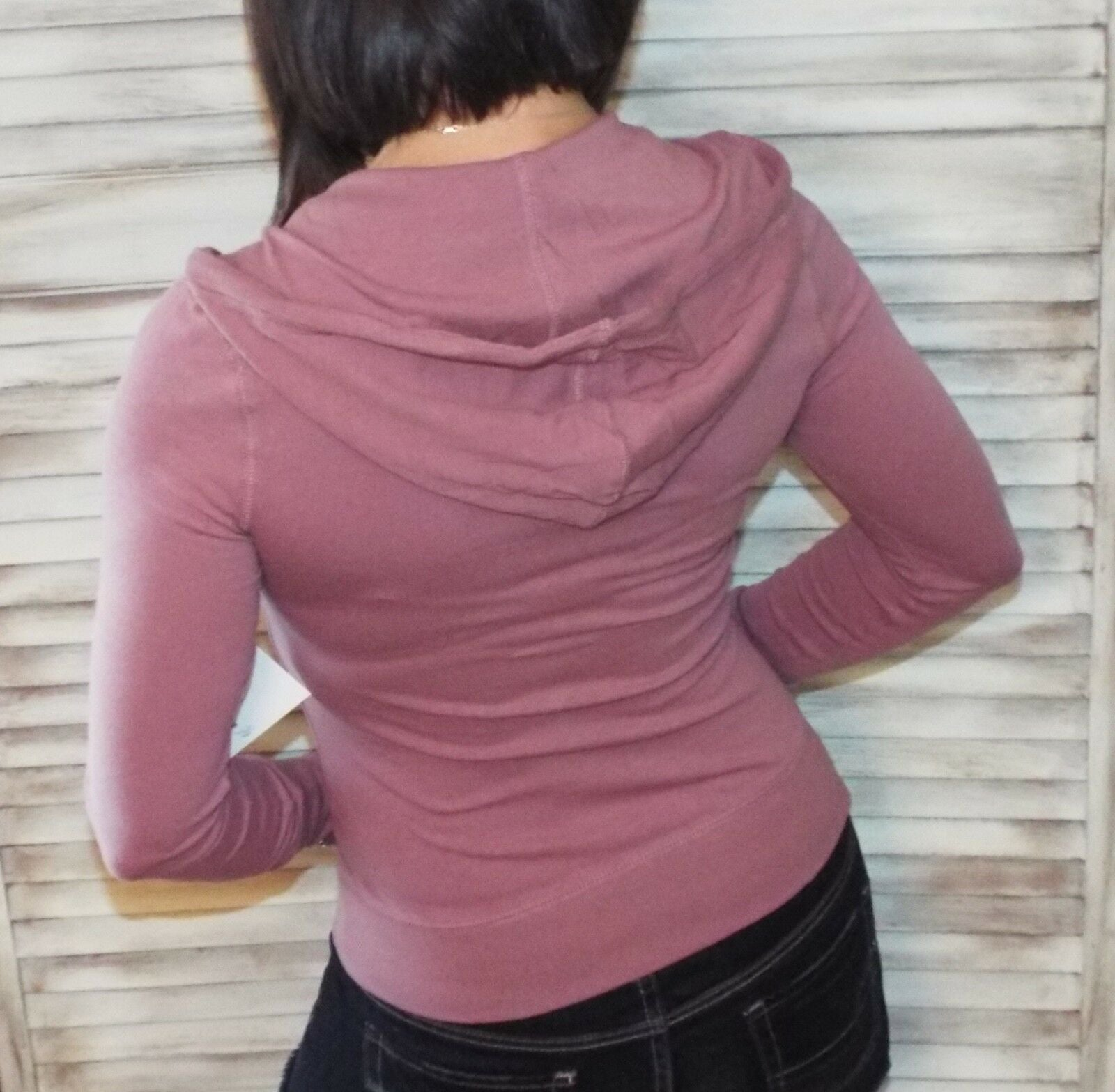Very Sexy Zip Up Kangaroo Pocket Thermal Hoodie Jacket Sweater Yoga Mauve S/M/L