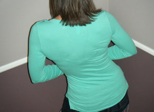 Sexy Deep V Neck Plunge Cleavage Military Henley Pocket Top Mint Green S/M/L