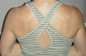 Sexy Low Scoop Neck Cleavage Preppy Striped Keyhole Back Floaty Tank Olive S/M/L