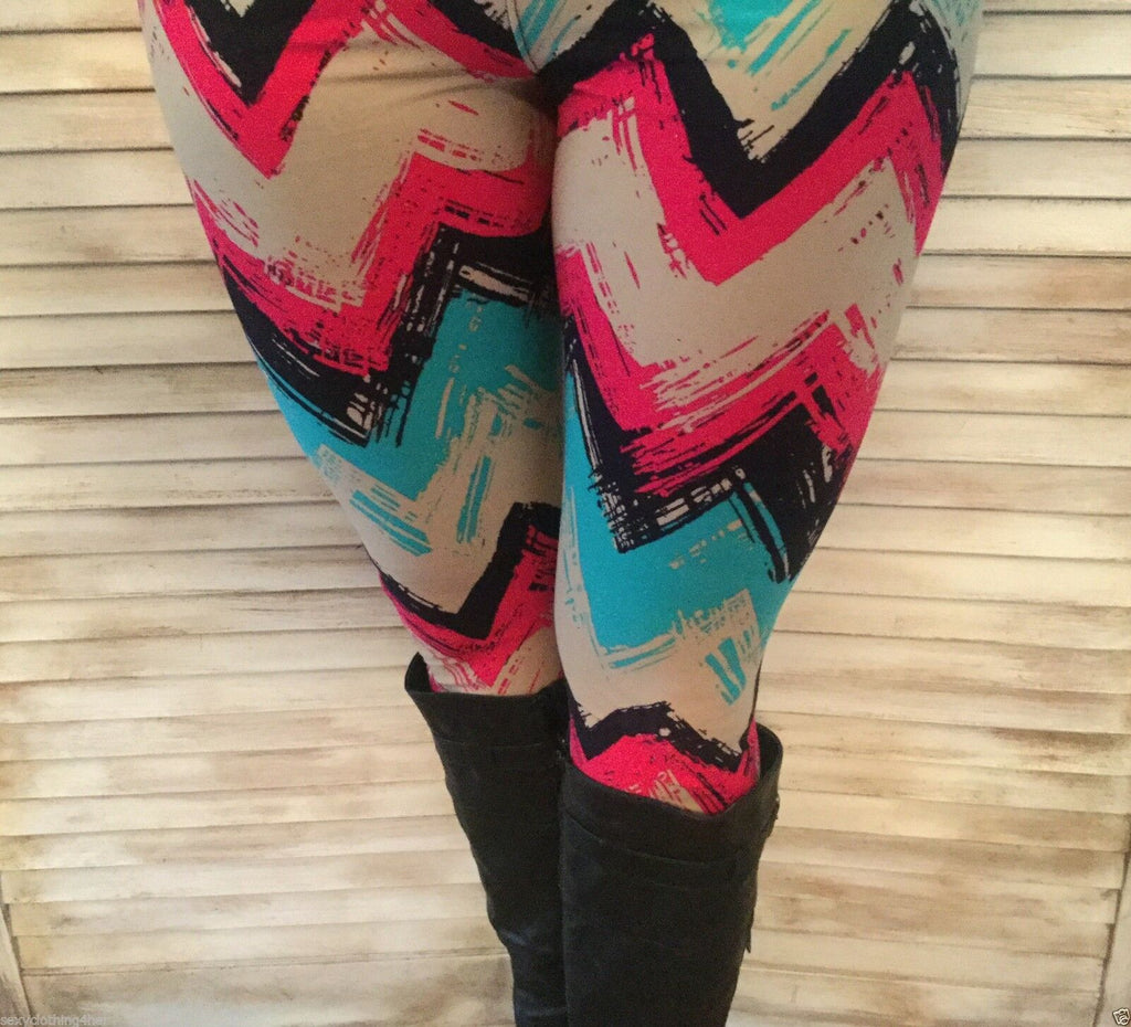 Blue Maroon Tan Chevron Zigzag Leggings Stretch Lounge Pants Juniors OS