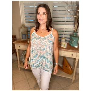 Sexy Chevron Striped V-Neck Summer Knot Floaty Tank Top Tunic White Blue S/M/L