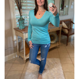 Very Sexy Slimming V-Neck Low Cut L/S Tissue Basic Baby Shirt Top Mint S/M/L