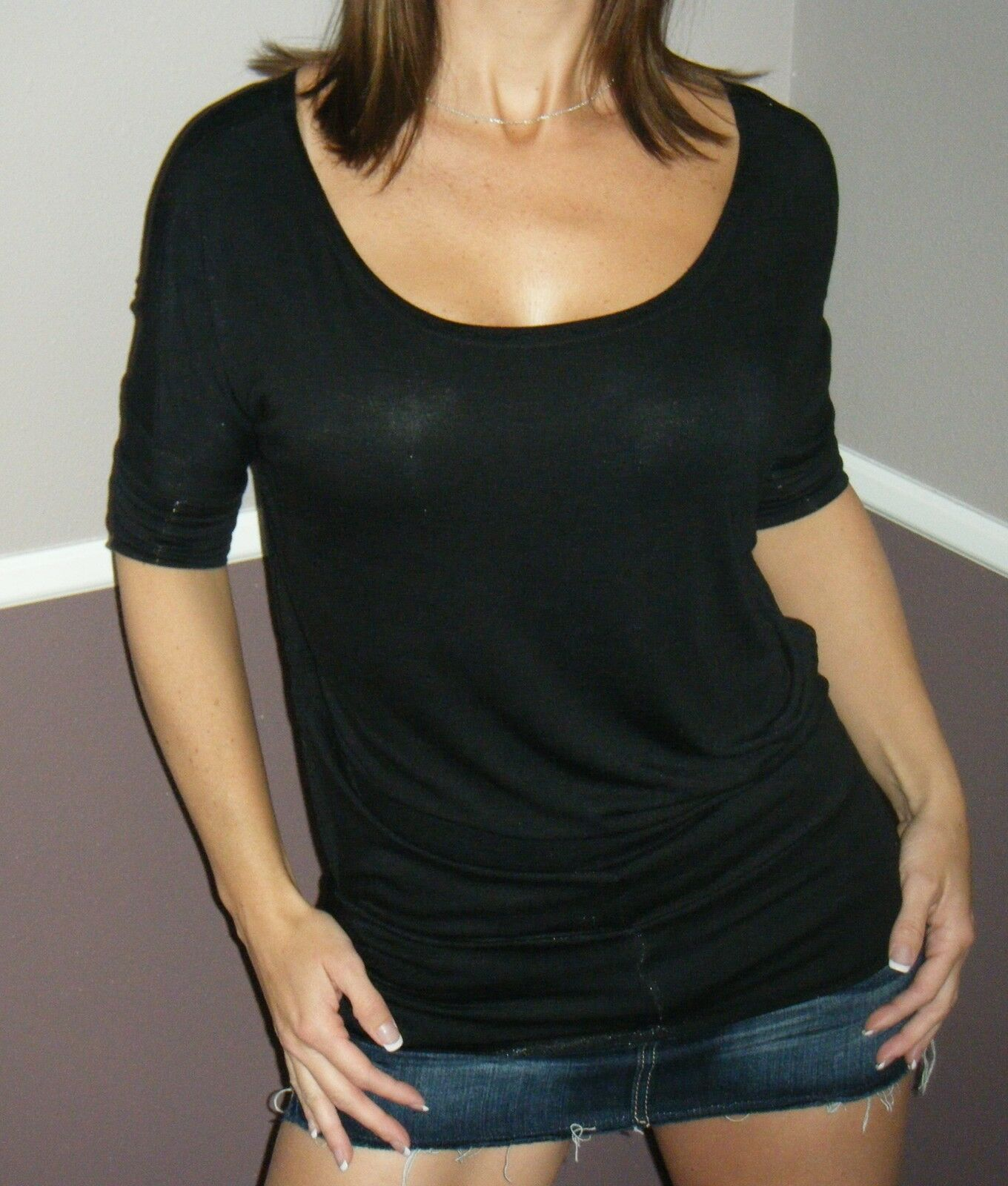 Very Sexy Dolman Wide Scoop Open Boat Neck Batwing Blouse Top Shirt Black S/M/L