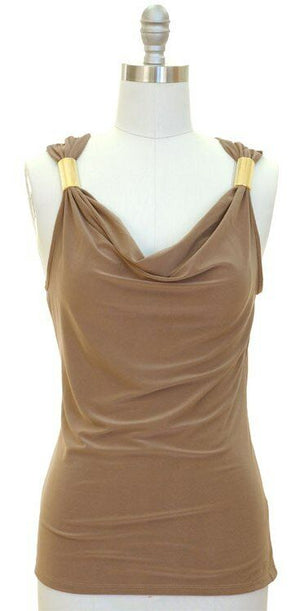Very Sexy Drape Cowl Neck Gold Metallic Shoulder Club Sleeveless Top S/M/L/XL