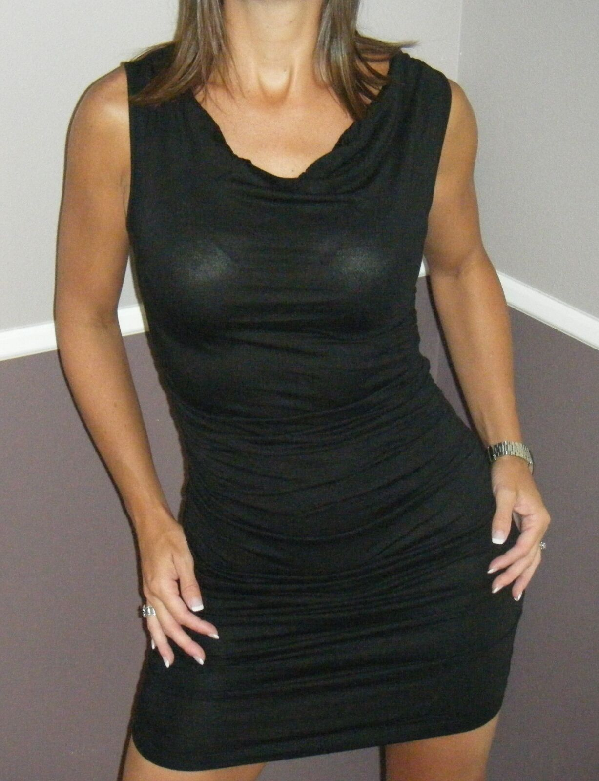 Very Sexy Little Black Mini Dress Cowl Neck Form Fitting Thin Ruched Sides S/M/L