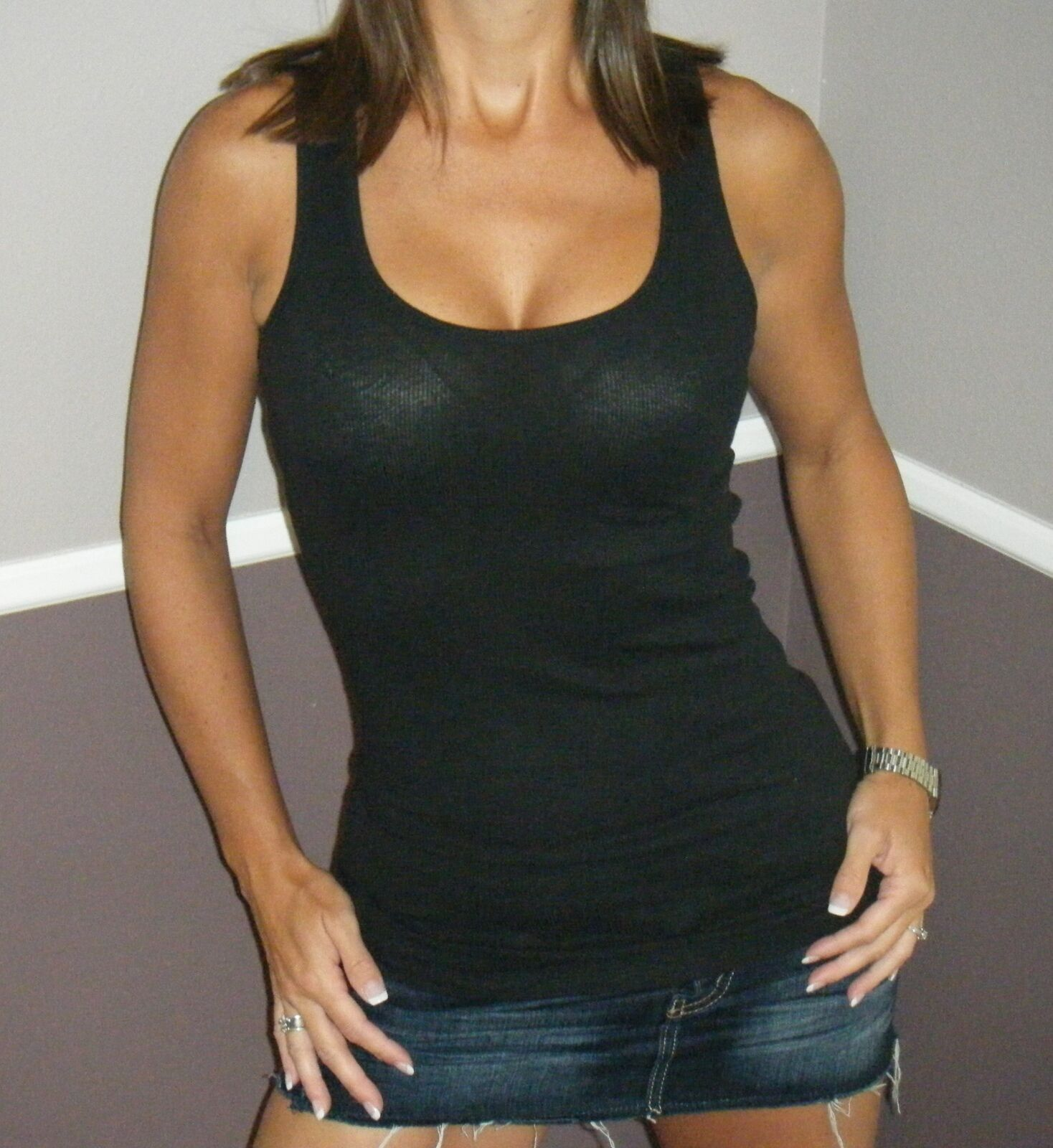 Very Sexy Ribbed Low Cut Scoop Boy Beater Cleavage Fitted Tank Top Black S/M/L