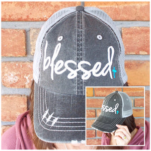 """Blessed"" Blue Cross Distressed Embroidered Trucker Hat Mess Back Dark Gray"