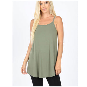 Reversible Front Back Low Scoop Or V-Neck Tank Shirt Top Army Green Olive S/M/L/XL