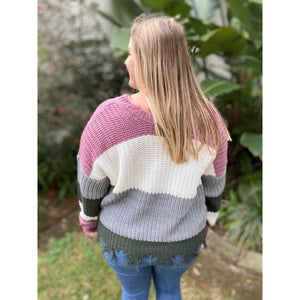 """Mauve On Over"" Chunky Knit Sweater Distressed Drop Open Shoulder V-Neck Long Sleeve S/M M/L"