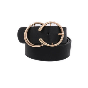 Double C Metal Buckle Faux Leather Belt Black Gold