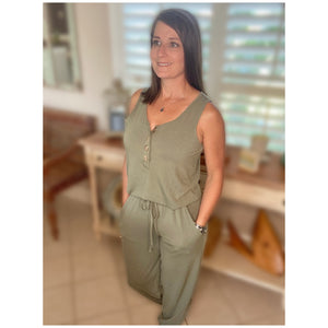 Scoop Neck Sleeveless Pocket Jogger Button Jumpsuit Army Green Olive S/M/L/XL