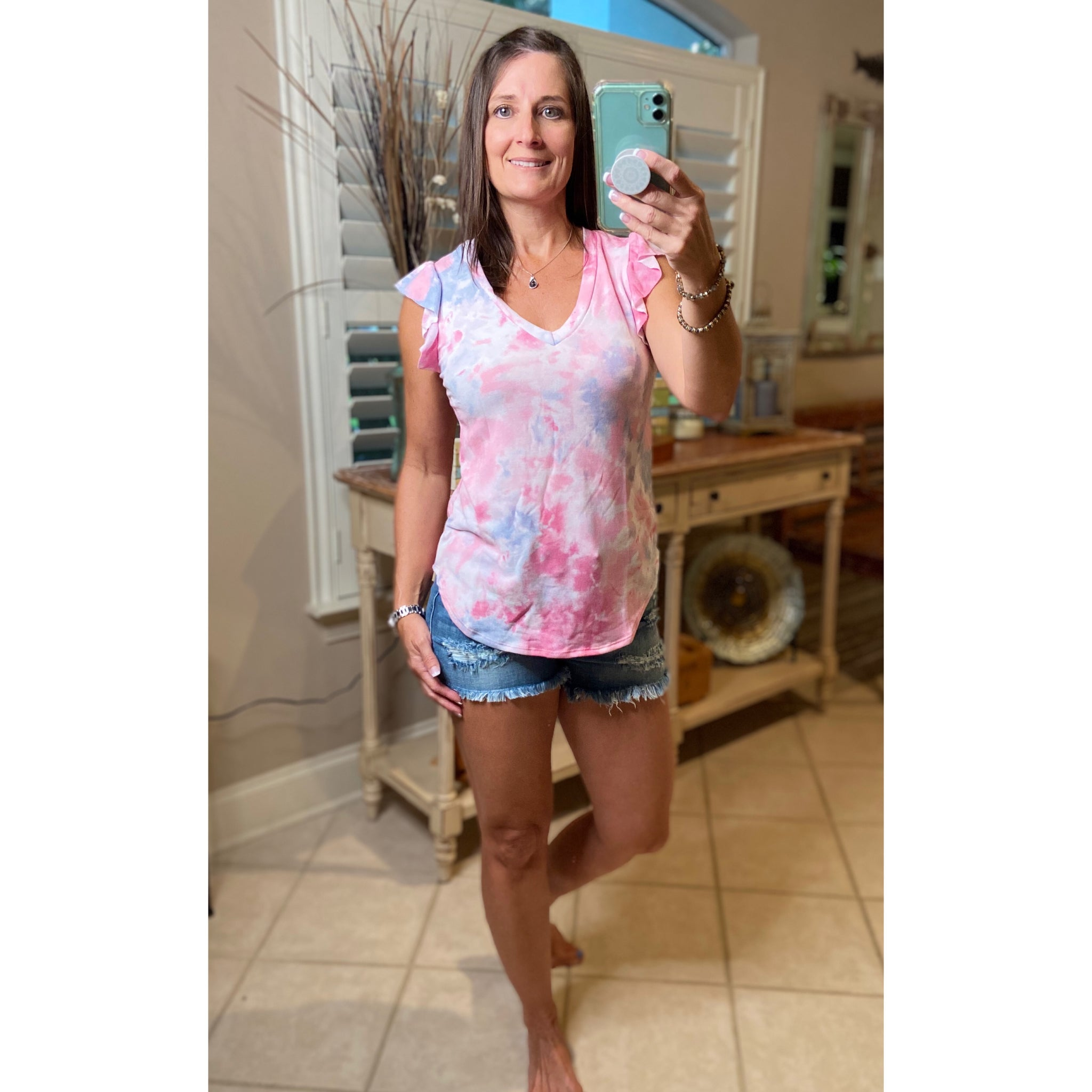 """Take Me Back"" Tie Dye Short Flutter Sleeve Round Neck Bottom Top Pink Multi S/M/L/XL"