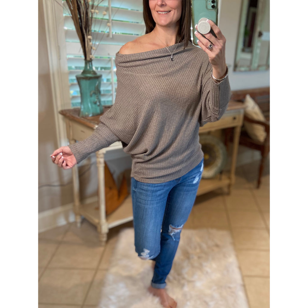 Off Shoulder Open Batwing Dolman Sleeve Top Cocoa S/M/L
