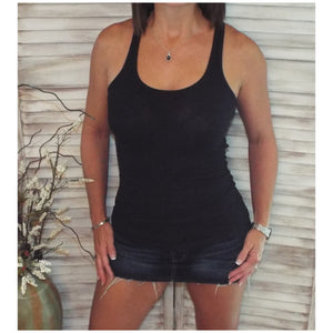 Sexy Ribbed Racerback Low Scoop Boy Beater Cleavage Tank Top Black 1X/2X/3X
