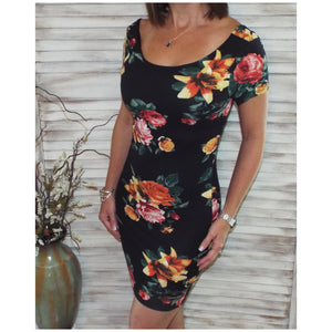 Sexy Scoop Cleavage Bodycon Country Floral Mini Tee Shirt Dress Black S/M/L