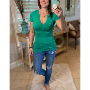 Very Sexy Deep V Neck Plunge Cleavage Military Henley Pocket Top Green S/S S/M/L