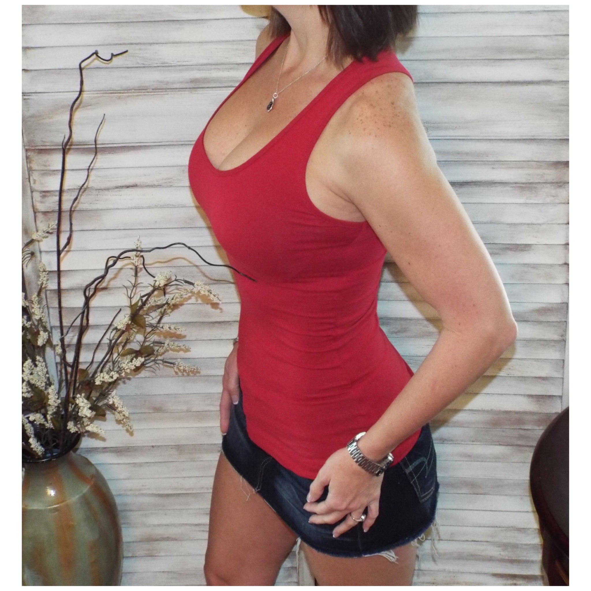 Very Sexy Low Scoop Boy Beater Cleavage Fitted Basic Tank Top Deep Red S/M/L