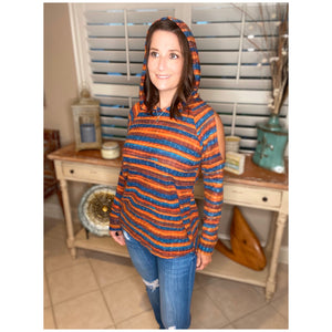 """Anything Is Possible"" Striped Split Cold Shoulder Hoodie Light Sweater Long Sleeve Orange Multi S/M/L"