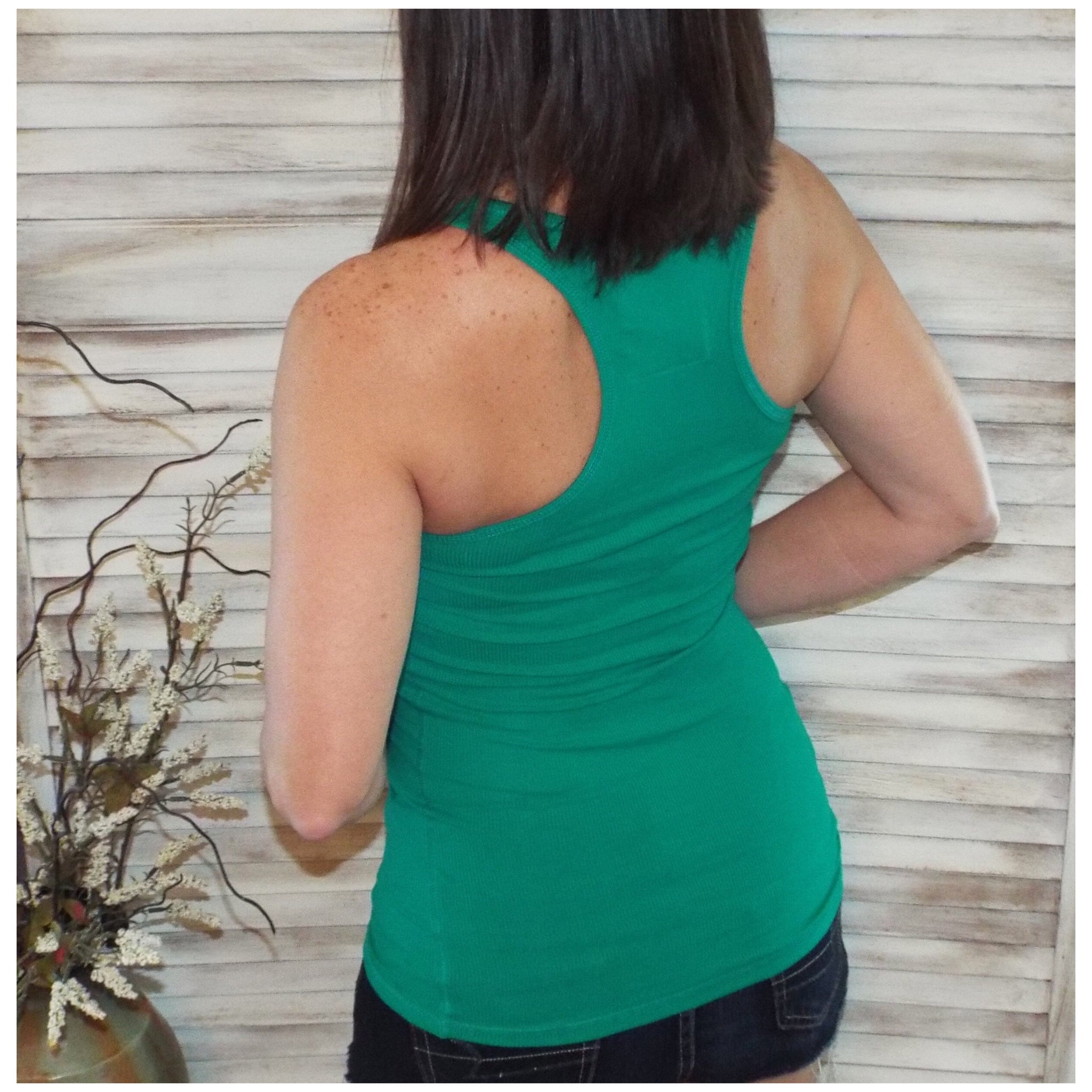 Very Sexy Ribbed Low Cut Scoop Boy Beater Cleavage Fitted Tank Top Green S/M/L