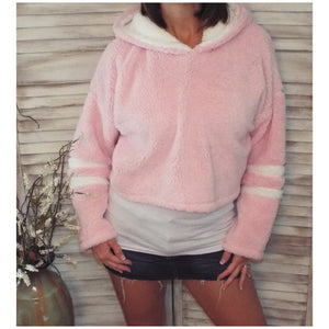 Sporty Sherpa Fleece Stripes Sleeves L/S Plush Hoodie Cropped Jacket Pink S/M/L