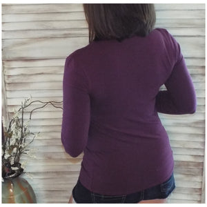 Sexy Slimming Round Neck Low Cut L/S Tissue Basic Baby Shirt Top Eggplant S/M/L