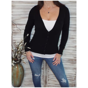 Sexy Preppy Cropped Cleavage Button Up Cardigan Long Sleeve Sweater Black S/M/L