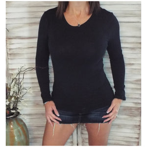 Sexy Slimming Round Neck Low Cut L/S Tissue Basic Baby Shirt Top Black S/M/L