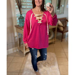 """All The Rage"" Lace Up French Terry Deep V-Neck Long Sleeve S/M/L"