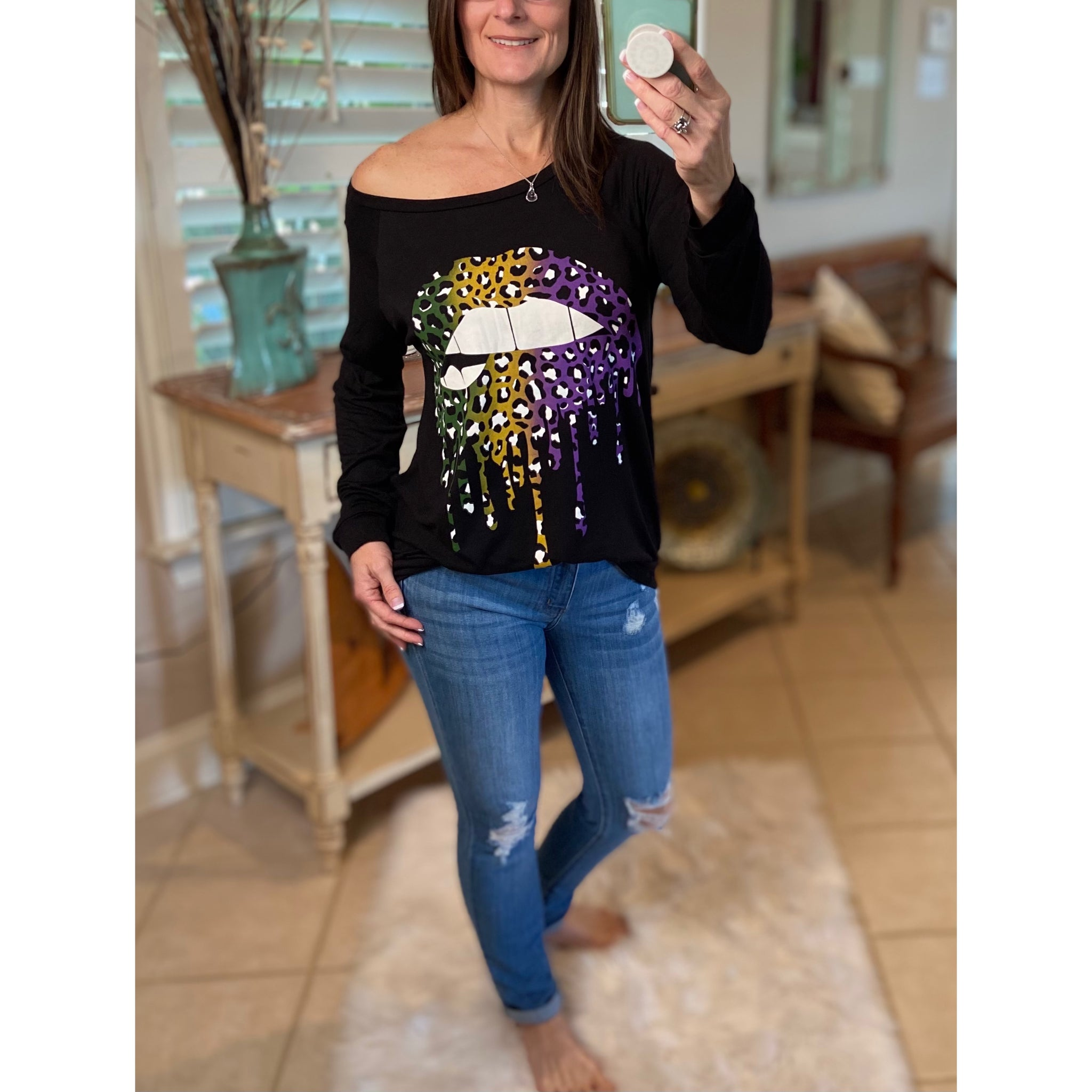 """Throw Me Something Mister"" Mardi Gras Lips Wide Neck Off Shoulder Purple Green & Gold S/M/L/XL"
