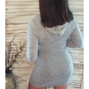 Sporty Athletic Hoodie Lightweight Varsity Sweater Contrast Dress Gray S/M/L