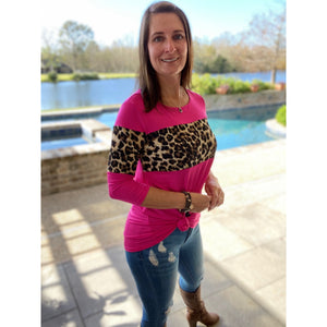 """Never Say Never"" Leopard Color Block Scoop Neck 3/4 Sleeve Hot Pink S/M/L"