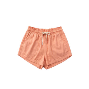 Basic Linen Pocket Drawstring Elastic Waist Dressy Shorts Bottoms Peach S/M/L