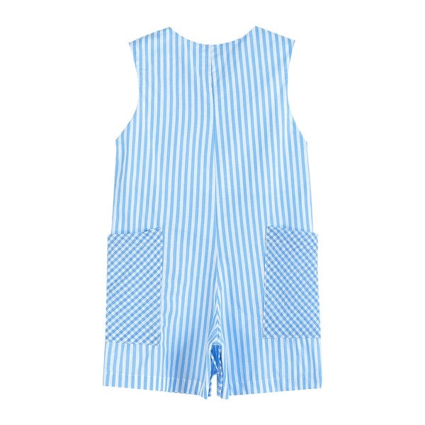Fuzzy Easter Bunny Striped Gingham Pockets Embroidery Blue Jon Jon Romper