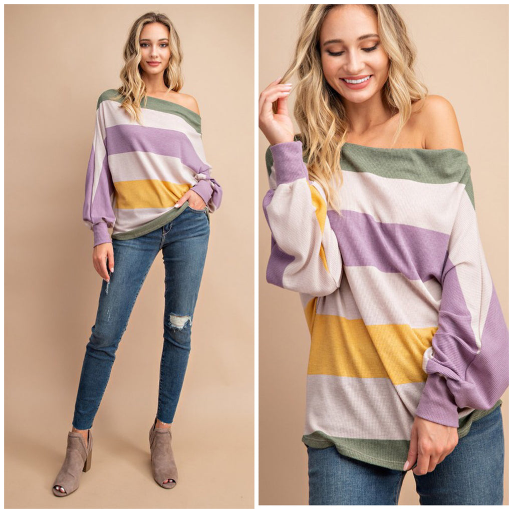 Mardi Gras Wide Neck Off Shoulder Waffle Shirt Purple Green & Gold S/M/L