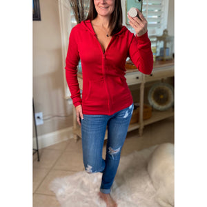 Very Sexy Zip Up Waffle Thermal Hoodie Light Jacket Sweater Yoga Red S/M/L