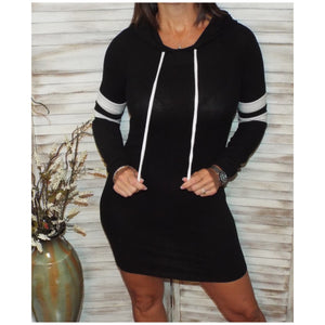 Sporty Athletic Hoodie Lightweight Sweater Contrast Dress Black White S/M/L