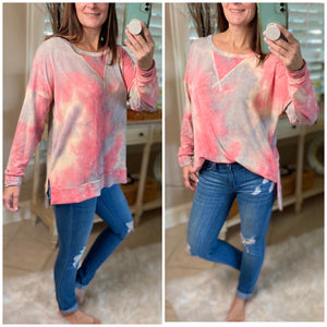 """Ya'll Get Ready"" Tie Dye French Terry Long Sleeve Banded Split Side Pink S/M/L"
