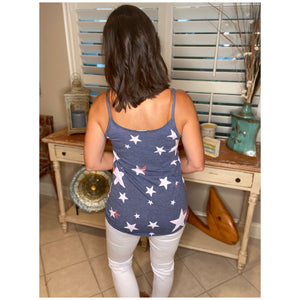 4th of July V-Neck Floaty Self Tie Star Print Summer Tank Red White Blue S/M/L