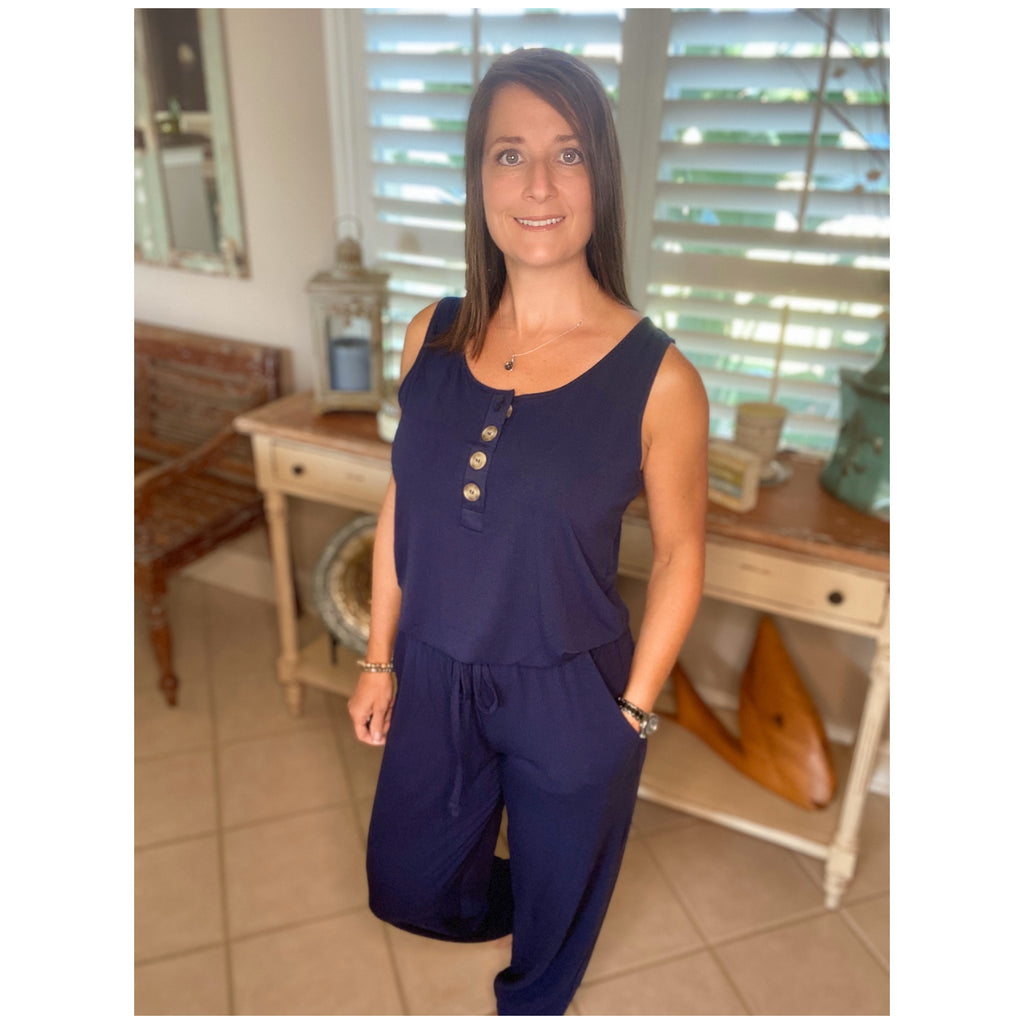 Scoop Neck Sleeveless Pocket Jogger Button Jumpsuit Navy Blue S/M/L/XL