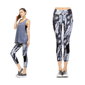 Paint Print Leggings Stretch Yoga Lounge Capri Pants Gym Workout Black Blue S/M/L