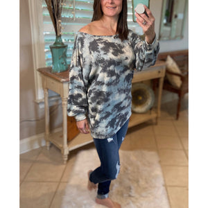 """Head In The Coulds"" Tie Dye Zipper Shoulder Detail Thermal Wide Neck Off Shoulder Blue Gray Top S/M/L/XL"