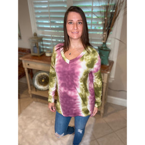 """Summertime Blues"" Tie Dye Vertical Print V-Neck Long Sleeves Pink Green S/M/L"