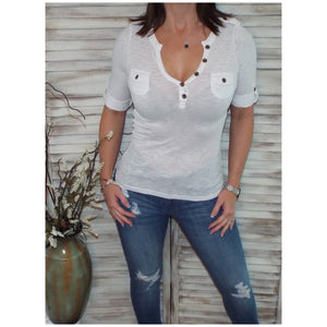Sexy V Neck Plunge Cleavage Military Henley Pocket Cuff Sleeve Top White S/M/L
