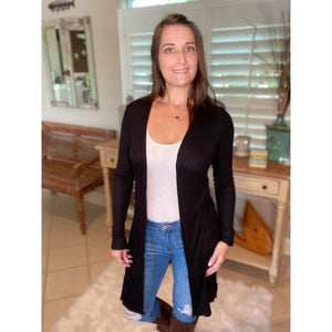 """Shelby Cardigan"" Ribbed Split Side Long Cardigan Light Long Sleeve Open Front Black S/M/L/XL"