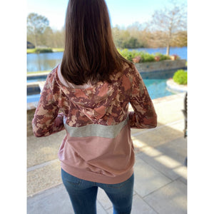 """Camo Is The New Black"" Color Block Camouflage Drawstring Hoodie Banded Bottom Pink S/M/L"
