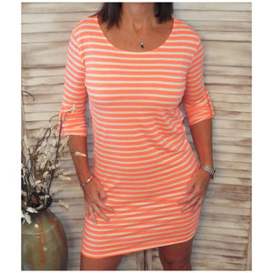 Sexy Boat Neck Striped Tab Sleeve Summer Tee Shirt Dress Neon Coral S/M/L