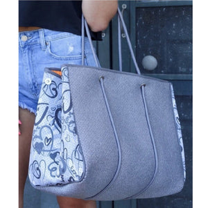 Large Neoprene Tote Bag and Wristlet Hearts - Brooklyn